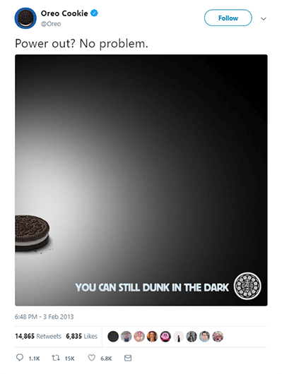 dunk in the dark from Brand Oreo is a great example of real-time marketing and how their marketing team achieved excellent results with a minimum marketing budget. The next b2b content marketing trends in 2021