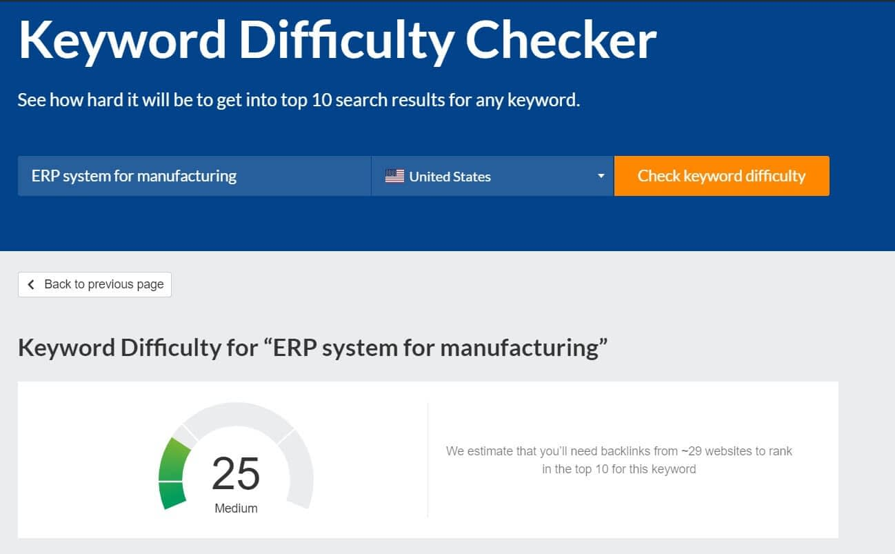 A keyword difficulty checker from Ahrefs is a great tool to see if you should target the keyword because it shows you how difficult it is to rank for your selected keyword.