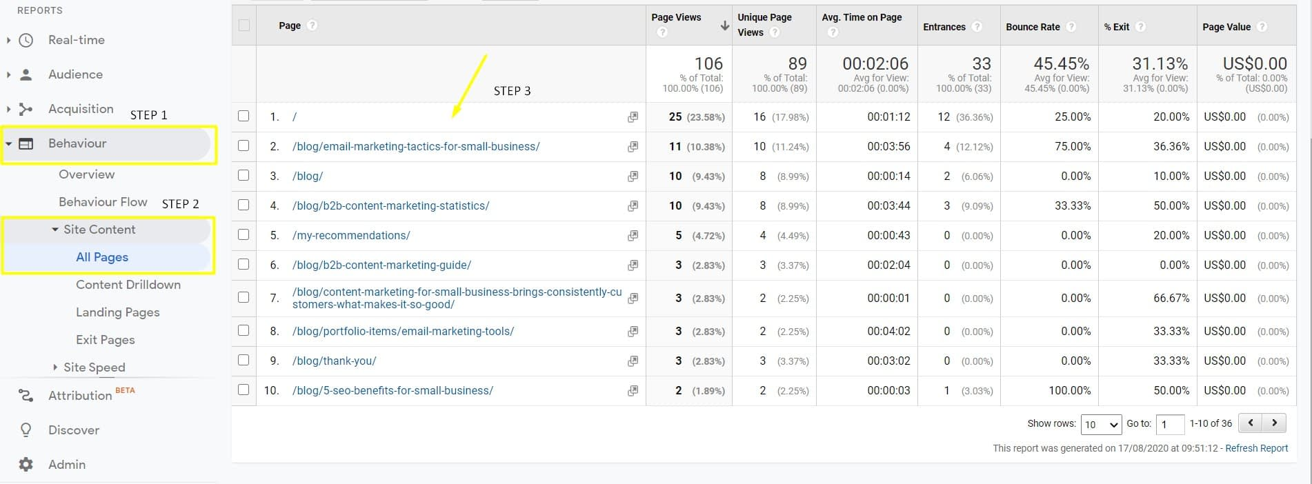 get more email subscribers for small business and with google analytics and how to find popular content on your website.